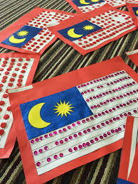 Malaysai Flag Malaysia Flag Craft With Buttons And Sequins Montessori Kids Academy