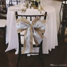 Chair Sashes 2017 275 X 15cm Lace Bowknot Burlap Chair Sashes Natural Hessian