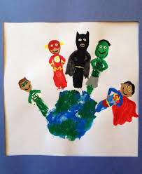 superhero handprint green lantern flash batman hulk and