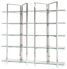 Bookcase 5 Shelf Nuevo Elton 5 Shelf Glass Bookcase Silver Contemporary