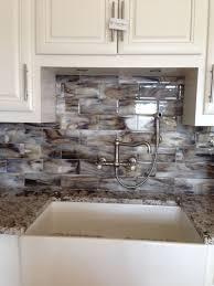 fused glass streaky brown subway tile for kitchen backsplash