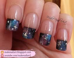 make nail art galaxy french manicure nail art design tutorial