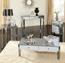mirrored end table set mirrored coffee table set with drawers coffee tables