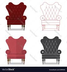 classic chair flat design icon set of classic chair royalty free vector