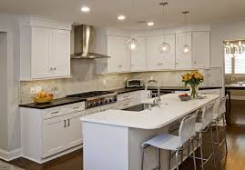 Modern White Kitchen Cabinets Round by White Solid Wooden Countertop Round Glass Three Light Ceiling Lamp