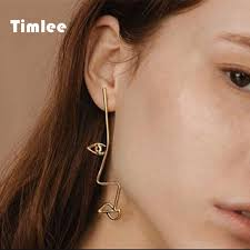 unique earrings timlee e114 unique personality hollow metal drop earring