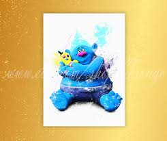 trolls biggie poster trolls watercolor biggie print home decor