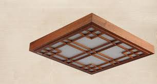 Japanese Ceiling Light Asian Japanese Style Ceiling L Led Mahogany Finish Wood
