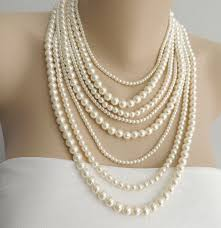 real pink pearl necklace images Multi strand pearl necklace layer pearl necklace statement jpg