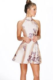 boo hoo clothing sateen butterfly print fit and flare dress boohoo