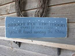 wall decor signs for home inspirational sign shoot for the moon primtiive hand painted
