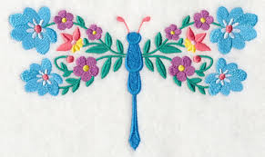 floral dragonfly design m3273 from emblibrary com