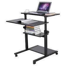 rolling stand up desk wood mobile standing desk height adjustable computer workstation