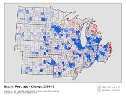 Iowa State Map Components Of Population Change In The Midwest 2010 16 Iowa