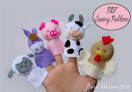 digital pattern farm friends felt finger puppets