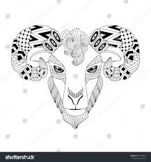 vector illustration ram aries zodiac zentangle stock vector