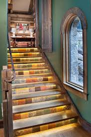 stair lighting ideas staircase rustic with log home rusted