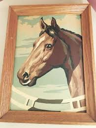 vintage paint by numbers horse framed painting hand made 1950s