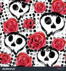 halloween background skulls seamless pattern halloween design floral background stock