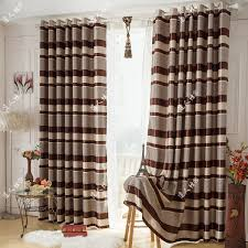 simple striped curtains in brown color blackout