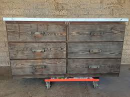 industrial rustic dresser workbench with galvanized metal top
