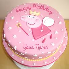peppa pig birthday write name on princess peppa pig birthday wishes cake