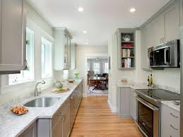 Vintage Galley Kitchen - recessed lighting cambridge over the range microwave narrow