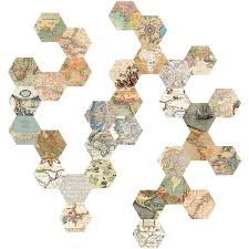 World Map Decal by 32 Hexagon Map Wall Decals Peel And Stick Vintage World Map Wall