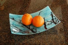 aqua and black fruit bowl fuzing glass