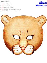 lion mask craft printable mountain lion mask