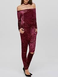 wine jumpsuit 2018 ripped the shoulder velvet sleeve jumpsuit wine