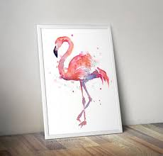flamingo watercolor painting art print giclee bird animal wall art