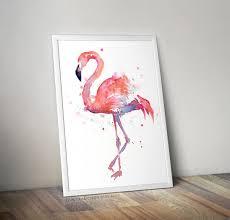 Home Decor Au by Flamingo Watercolor Painting Art Print Giclee Bird Animal Wall Art