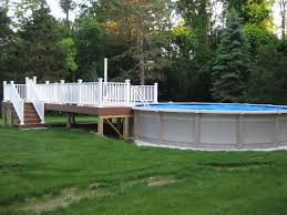 pictures of above ground pools with decks around it above ground