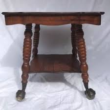 claw foot table with glass balls in the claw antique oak wood parlor table w glass ball claw foot w shelf