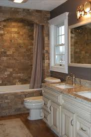 stone wall bathroom mirror storage design wooden cabinets light