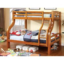 unique shape oak wooden bunk bed using quilt and white bed linen