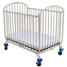 l a baby folding arched compact convertible crib with mattress