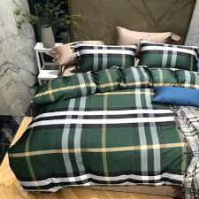 Plaid Bedding Set Green Color Plaid Bedding Set King Queen Size Men Duvet Cover Set