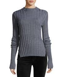 fitted sweater theory wide rib mock neck fitted sweater