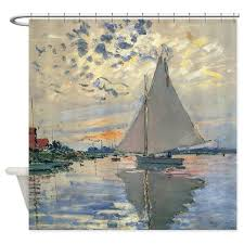 Sailboat Shower Curtains Monet Sailboat Impressionist Shower Curtain By Doodlefly