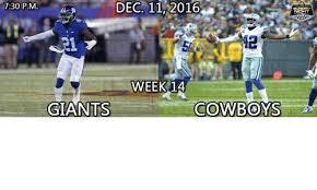 Giants Cowboys Meme - dec 11 2016 730 pm week 1a giants cowboys meme on sizzle