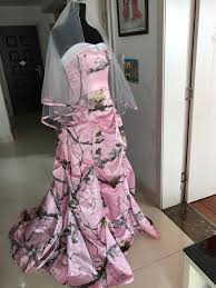 real pic pink camo wedding dress draped skirt camouflage with veil