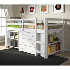 donco kids white finish twin low loft with desk chest bookcase