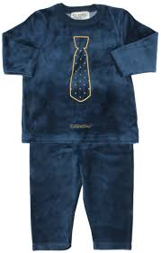 all navy boys navy velour pajamas with printed gold tie 81w182 b