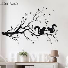 sticker chambre stickers muraux écureuil sur longue branche d arbre wall sticker