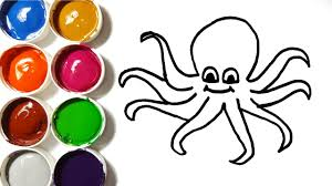 how to draw octopus coloring pages animals art colours for kids
