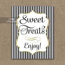 Wedding Buffet Signs by Desserts Sign Black Gold Sweet Treats Sign Black White