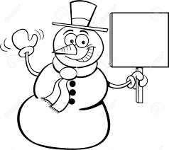 snowman holding a sign for a coloring page royalty free cliparts