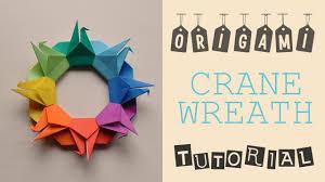 origami crane wreath tutorial youtube